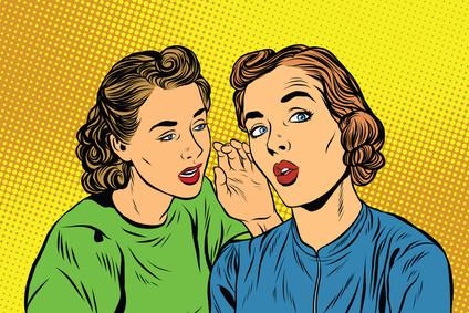 Cartoon women sharing secrets