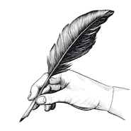 Sketch hand holding quill