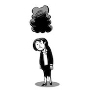 Sad cartoon with black cloud above its head