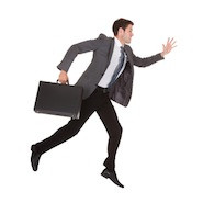 Young businessman in a hurry
