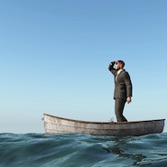 Lost man on a boat