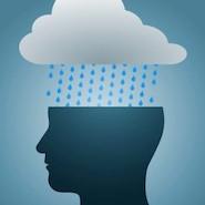 cartoon cloud raining over a cartoon head