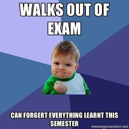 Baby and semester exam meme
