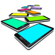 Smartphones with colourful screens