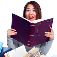 Woman holding a book open
