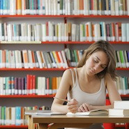 Student working in the library