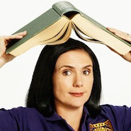 lady with book above her head