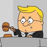 Cartoon judge and gavel