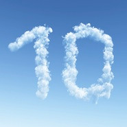 The number 10 in clouds