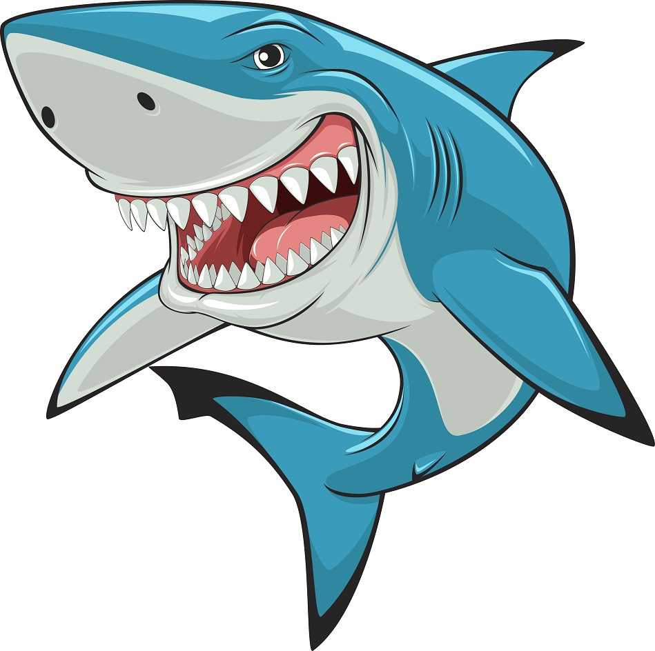 A gray shark swimming through dark water