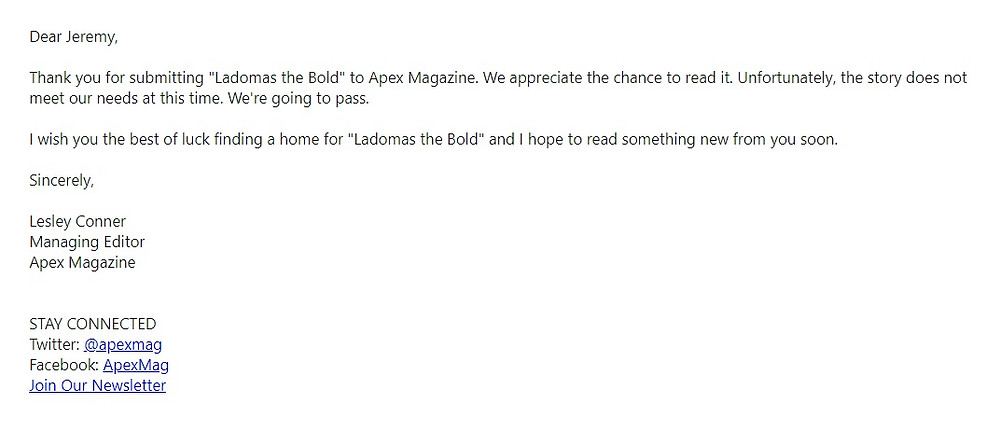 Rejection letter from Apex Magazine
