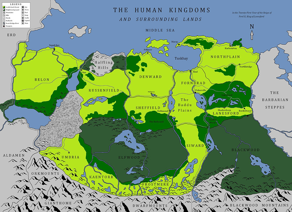"""Map of the Human Kingdoms from the novel-in-progress """"The Wrong War: Springtide Harvest"""" by Jeremy Mitchell"""