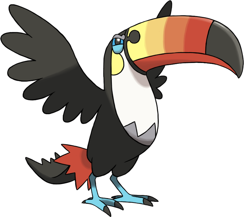 An angry cartoon toucan with outstretched wings