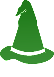 A pointy, green wizard's hat