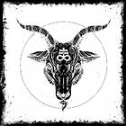 A demonic goat head in a ragged frame