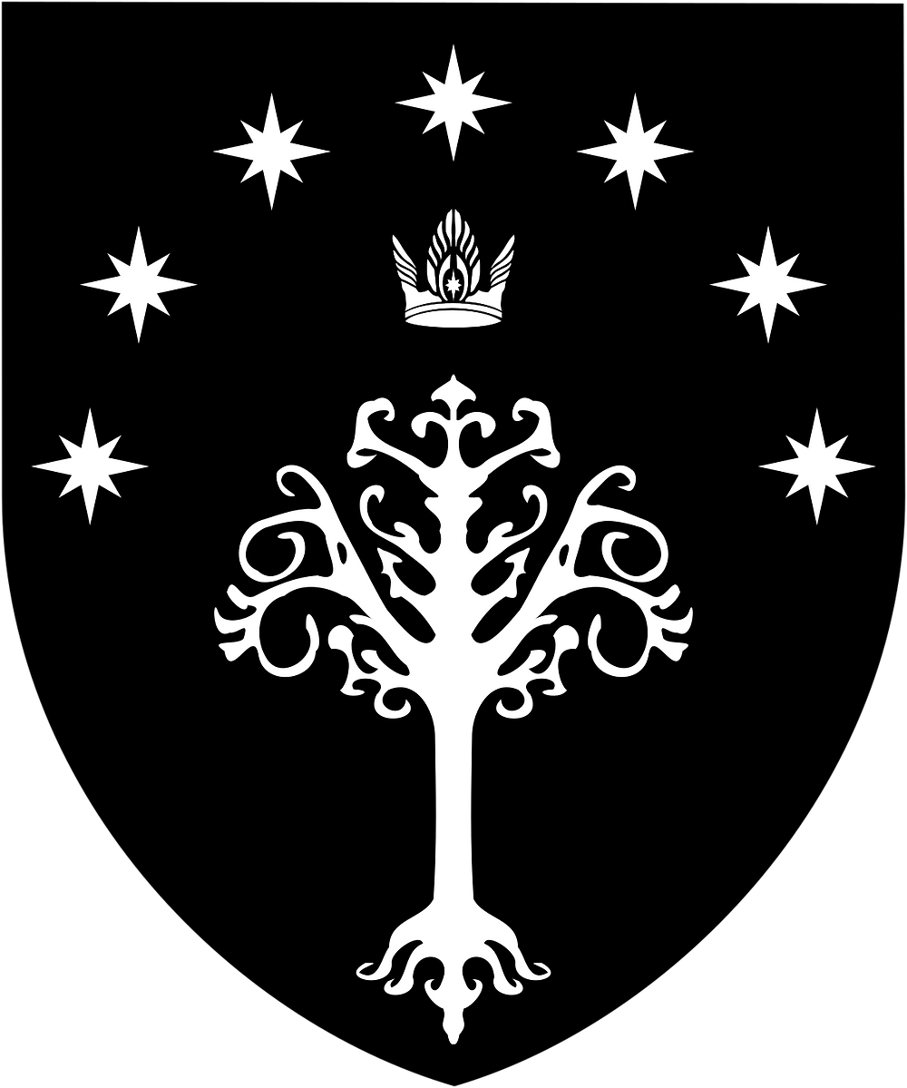 The White Tree of Gondor on a black shield