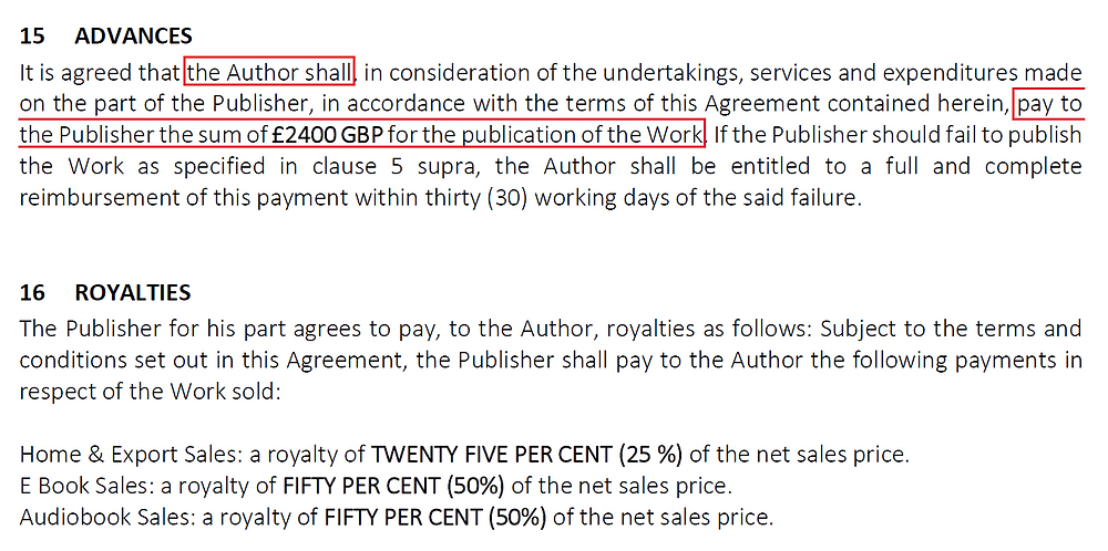 Example of a Vanity Press contract (Royalties and Advances clauses)