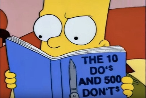 Bart Simpson reading about Donny Don't, The Simpsons, copyright Fox Media