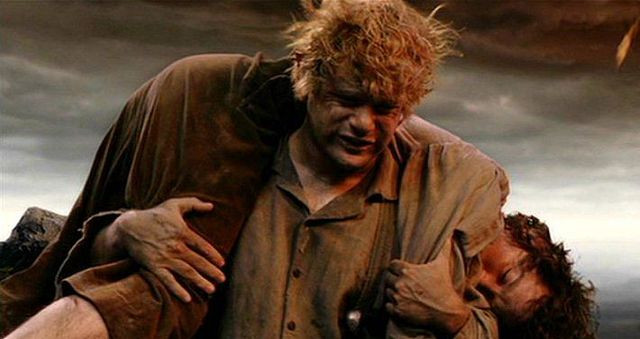 Sam Gamgee carrying Frodo Baggins up Mount Doom, from the Lord of the Rings: The Return of the King movie.