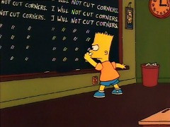 Bart Simpson writing lines on a public school blackboard