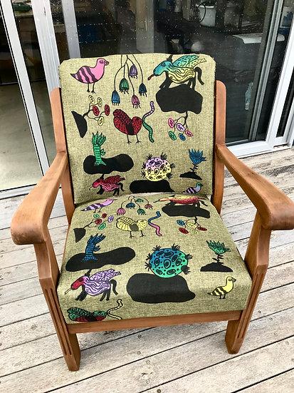 Majella Bailey Screenprinted wooden chair by Majella Bailey
