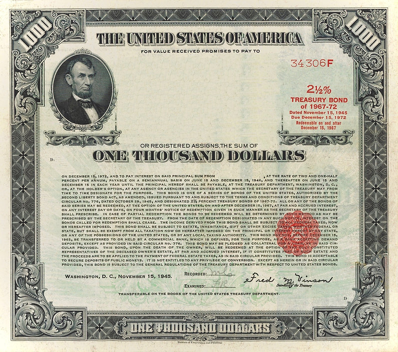 1945 $1000 Registered Bond (restored)_ed