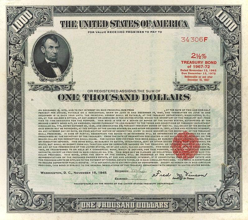 1945 $1000 Registered Bond (restored)_ed