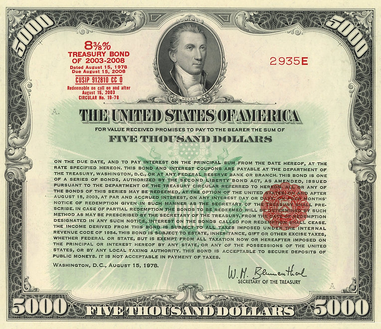 1978 $5,000 Treasury Bond