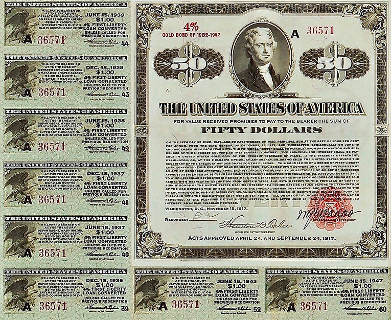 1917 $50 4% First Liberty Loan Converted
