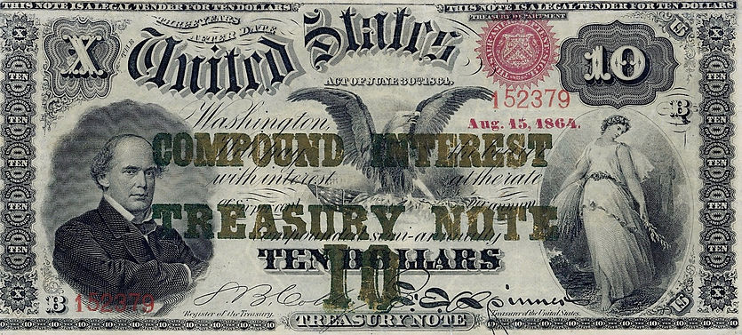 1864 $10 Compound Interest Note PMG (fro