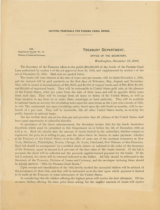 1908 Treasury Dept Circular No. 73 (fron
