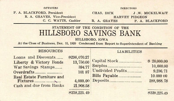 1920 Hillisboro Bank Statement of Assets