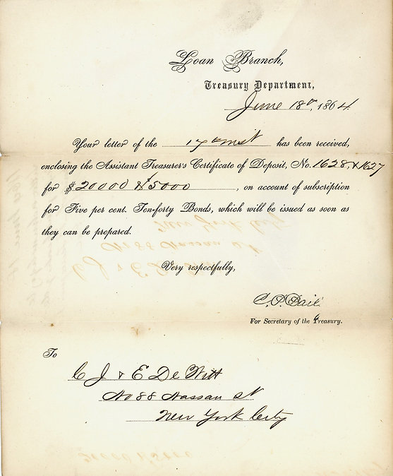 1864 Treasury Bond Purchase receipt.jpeg