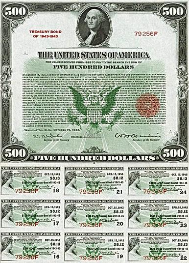 1933 $500 4.5% - 3.5% Treasury Bond (fro