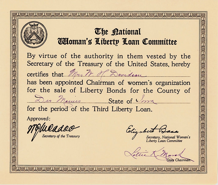 1918 National Woman's Committee Certific