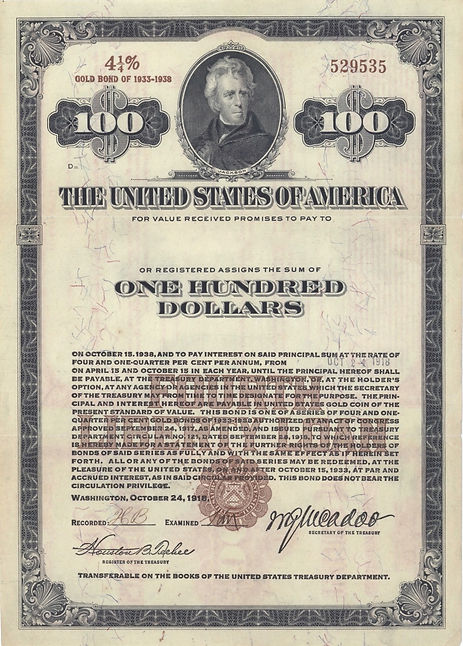 1918 Registered $100 Fourth Liberty Loan