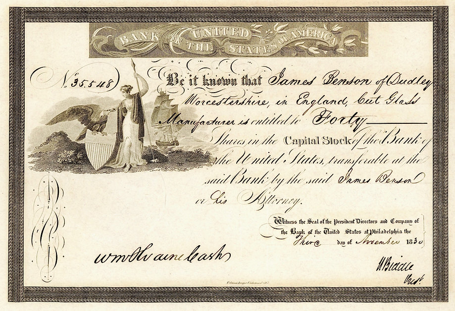 1830 Bank of the US Capital Stock shares
