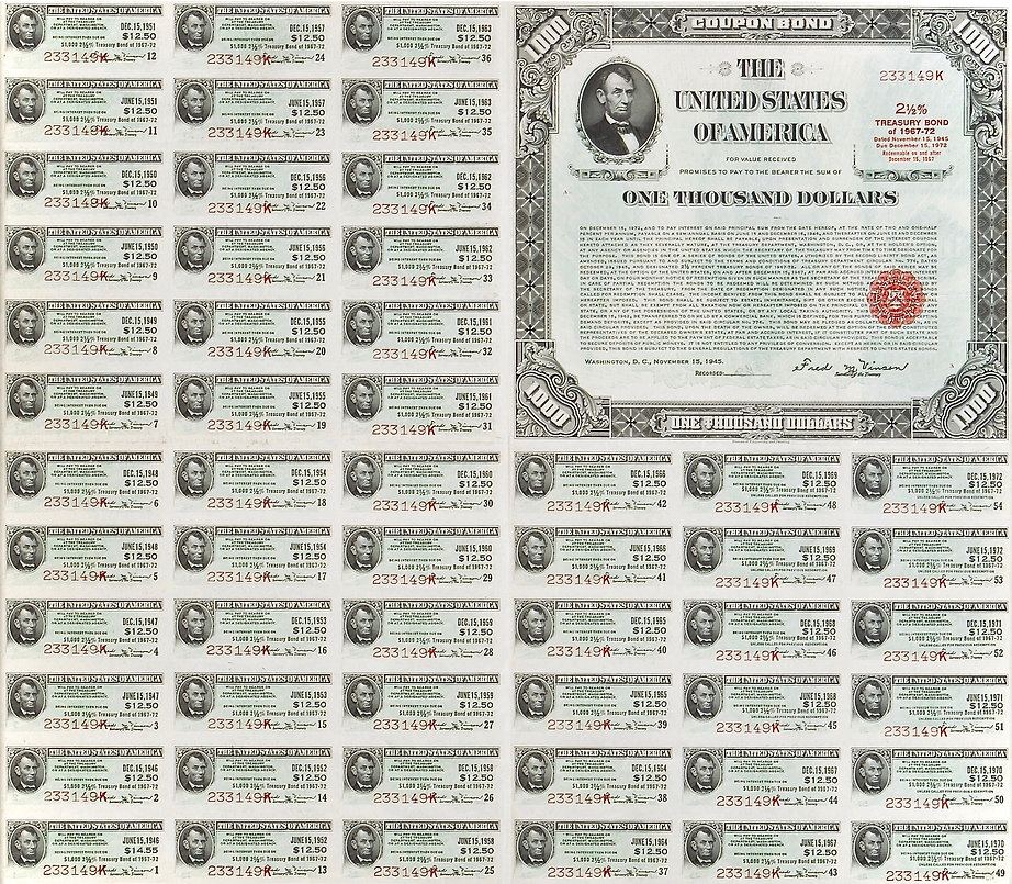 1945 $1000 2.5% Treasury Bond (front) .j
