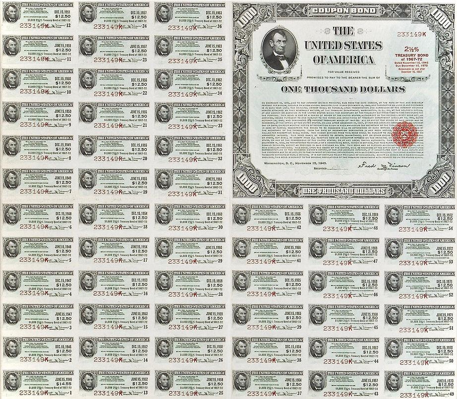1945 $1000 2.5% Treasury Bond (front) .j