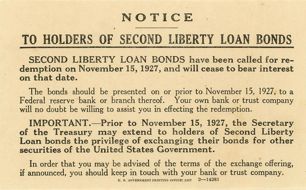 1927 Second Liberty Bond Call notice cop