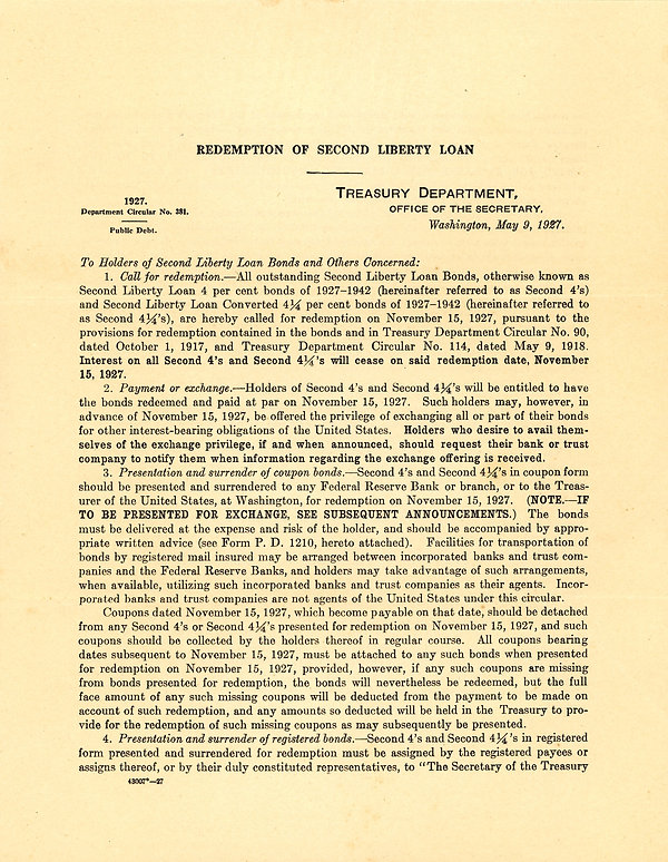 1927 Treasury Dept Circular No. 381 copy