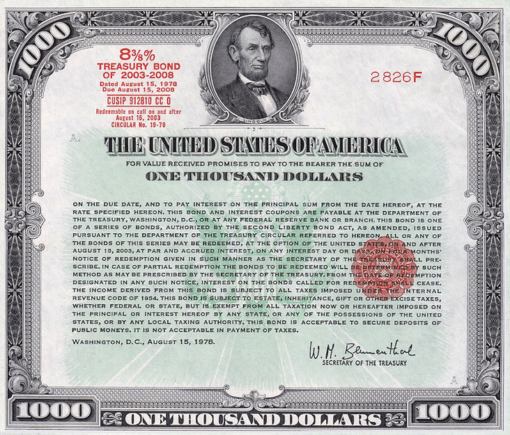 1978 $1000 8 3_8% Treasury Bond (front)