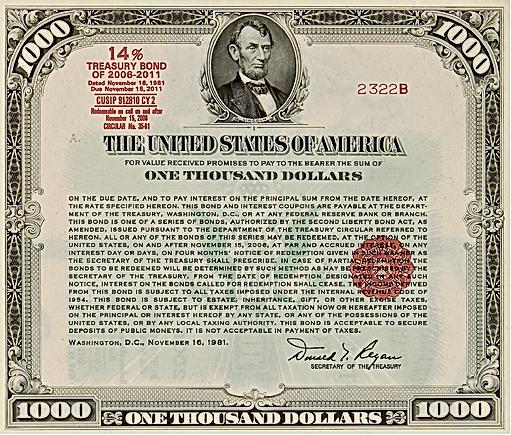 1981 $1000 14% Treasury Bond