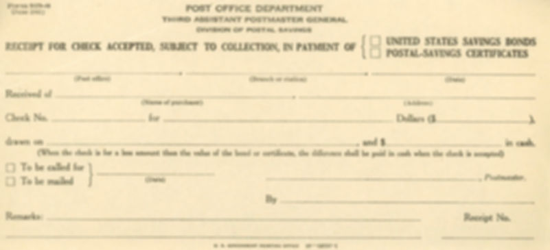 1941 Savings Bond & Postal Cert Form