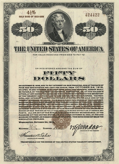 1918 Registered $50 Fourth Liberty Loan