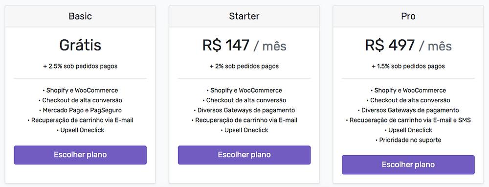 Tabela de preço Yampi Shopify