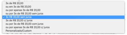 Opções de texto de parcelamento APP Parcelamento Shopify