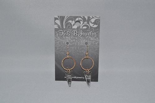 Silver Patina Spike & Circle Earrings  ESB007-GF