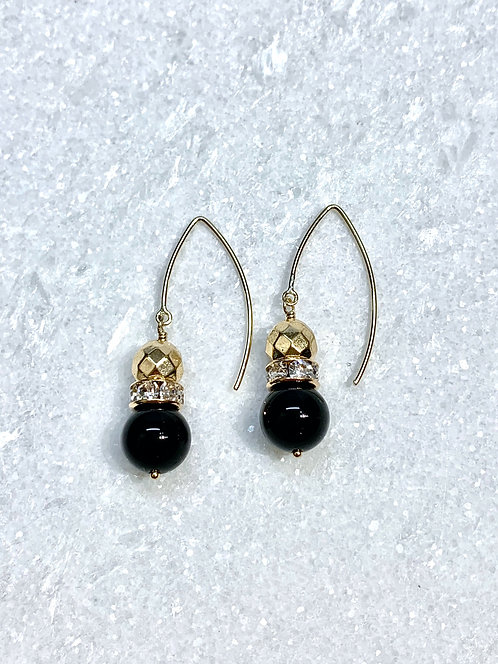 Black Obsidian & Gold Hematite Earrings EM055-GF