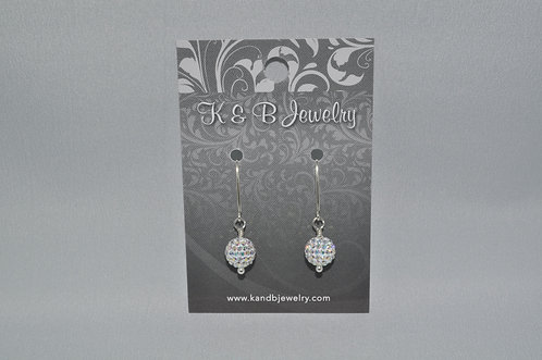 Aurora Borealis Pave' Ball Earrings  EM056-SS